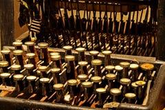 Zeer oude schrijfmachine, close-up stock foto