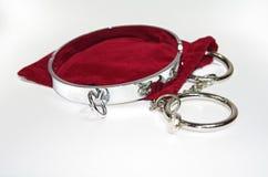 Zeer sexy en kroezige staalkraag met handcuff stock fotografie