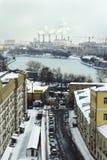 Zeer sneeuwende dag in Moskou, mening van Moskou-Rivier Stock Fotografie