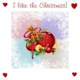 Zeer vriendelijke illsutration van Kerstmis met ballen Royalty-vrije Stock Fotografie