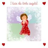 Zeer vriendelijke Kerstmis illustrationwith weinig engel Stock Foto's
