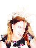 Zeer wind-swept dame Stock Foto's