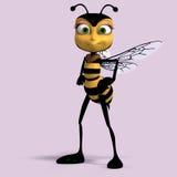 Zeer zoet geef van een honingsbij terug in geel en bla Stock Fotografie