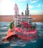 zeeschelp en ecologic futuristische stad Stock Afbeeldingen