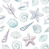 Zeeschelpen vector naadloos patroon Stock Afbeelding