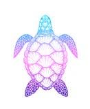 Zeeschildpad in de stijl van de lijnkunst Hand getrokken vectordieillustratie op witte achtergrond wordt geïsoleerd Ontwerp voor  Stock Afbeelding