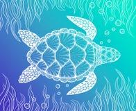 Zeeschildpad in de stijl van de lijnkunst Hand getrokken vectorillustratie Ontwerp voor het kleuren van boek Reeks oceaanelemente Royalty-vrije Stock Foto's