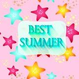 Zeester van verschillende kleuren op een roze achtergrond Stock Fotografie