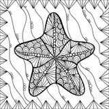 Zeesterstijl zentangl royalty-vrije illustratie