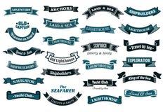 Zeevaart als thema gehade banners Stock Afbeelding