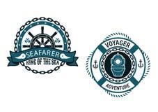 Zeevaart als thema gehade emblemen en symbolen Stock Foto
