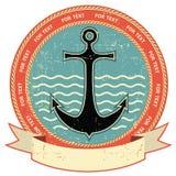 Zeevaart anker. Uitstekend etiket Royalty-vrije Stock Afbeeldingen
