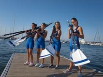 Zeevaart Club van Thessaloniki school het roeien stock afbeeldingen