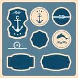 Zeevaart en overzeese pictogrammen, kentekens en etiketten royalty-vrije illustratie