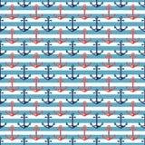 Zeevaart gestreept patroon met ankers Royalty-vrije Stock Foto's
