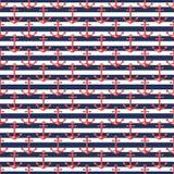 Zeevaart gestreept patroon met ankers vector illustratie