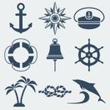Zeevaart mariene geplaatste pictogrammen Stock Afbeelding