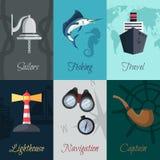 Zeevaart mini geplaatste affiches Stock Afbeeldingen