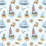 Zeevaart naadloos patroon vector illustratie