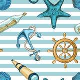 Zeevaart Naadloos Patroon Stock Foto