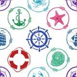 Zeevaart Naadloos Patroon Royalty-vrije Stock Foto's