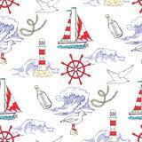 Zeevaart Naadloos Patroon Stock Fotografie