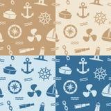 Zeevaart Naadloze Patronen Stock Afbeelding