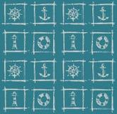 Zeevaart overzeese elementen, schetspatroon Royalty-vrije Stock Afbeelding
