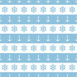 Zeevaart van strepenankers en wielen naadloze patroonachtergrond Royalty-vrije Stock Afbeelding