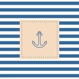 Zeevaart vectorkaart of uitnodiging met anker Stock Afbeelding