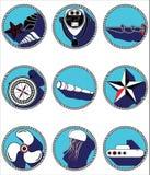 Zeevaartelementen II pictogrammen in geknoopte cirkel Stock Fotografie