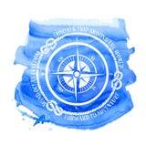 Zeevaartembleem met kompas Stock Foto