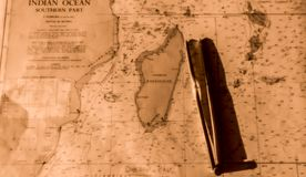 Zeevaartkaart van Indische Oceaan Stock Foto