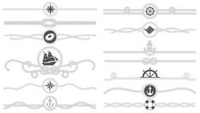 Zeevaartkabelgrens Zeevaart gebonden kabelslijn, van het overzeese de verdeler schipanker en retro mariene decorgrenzen geïsoleer vector illustratie
