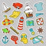 Zeevaartmarine life doodle met Vissen, Onderzeeër en Boot Stickers, Kentekens en Flarden stock illustratie