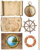Zeevaartobjecten kabel, kaarten, kompas, stuurwiel en patrijspoort 3d illustratie Stock Foto's