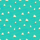 Zeevaartpatroon met kleine boten op golven Royalty-vrije Stock Foto's