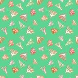 Zeevaartpatroon met kleine rode koralen Stock Afbeeldingen