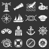 Zeevaartpictogrammen geplaatst grijze vector Stock Foto's