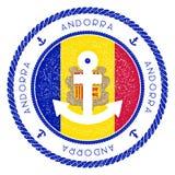 Zeevaartreiszegel met de Vlag van Andorra en vector illustratie