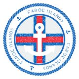 Zeevaartreiszegel met de Vlag van de Faeröer en stock illustratie