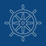 Zeevaartroer Schip en bootstuurwielteken De controlepictogram van het bootwiel Leidraadetiket royalty-vrije illustratie