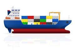 Zeevaartvrachtschip vectorillustratie Stock Afbeelding