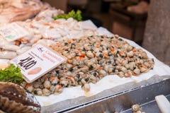Zeevruchten bij de de vissenmarkt van Venetië, Italië Royalty-vrije Stock Foto