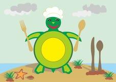 Zeevruchten en schildpadrestaurant Stock Foto