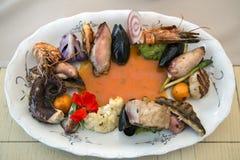 Zeevruchten en vissen op porseleinplaat Royalty-vrije Stock Foto's