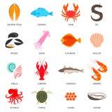 Zeevruchten en vissenpictogrammen Stock Fotografie