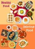 Zeevruchten en vleesschotelspictogram voor dinermenu dat wordt geplaatst Stock Afbeeldingen