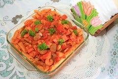 Zeevruchten gebakken macaroni royalty-vrije stock afbeeldingen