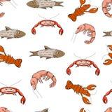 Zeevruchten Het vectorpatroon van beeldverhaalschaaldieren Stock Foto's